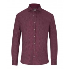 Brax Harrold Pattern Shirt In Wine - Up To 5XL