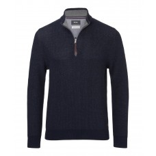 Brax Steffen Navy Cotton Wool Troyer Zip