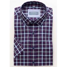 Eterna Comfort Fit Short Sleeve Shirt Red-Blue Plaid