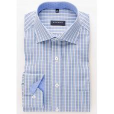 Eterna Comfort Fit Long Sleeve Shirt Blue/Brown Plaid