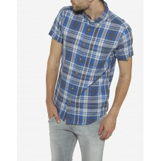 Wrangler Short Sleeve Slim-Fit Shirt - Petrol Grey and Blue
