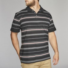 North 56°4 Cotton Stripped Polo Top Black XL To 8XL