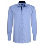 Eterna Comfort Fit Contrasting Blue Shirt