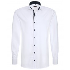 Eterna Comfort Fit Contrasting White Shirt